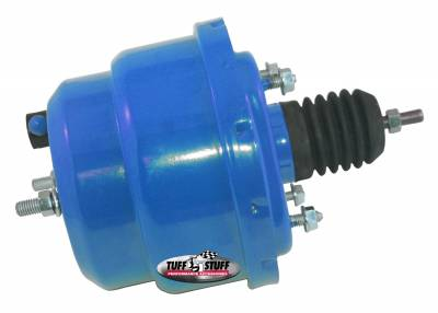 Power Brake Booster Univ. 7 in. Dual Diaphragm Incl. 3/8 in.-16 Mtg. Studs And Nuts Fits Hot Rods/Customs/Muscle Cars Blue Powdercoat 2222NCBLUE