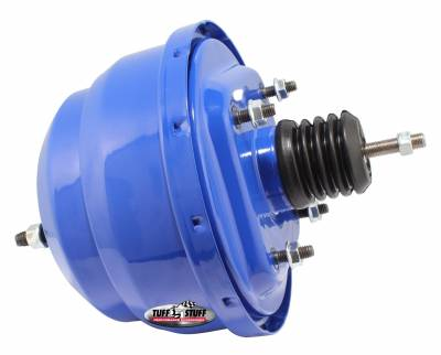Power Brake Booster Univ. 8 in. Dual Diaphragm Incl. 3/8 in.-16 Mtg. Studs And Nuts Fits Hot Rods/Customs/Muscle Cars Blue Powdercoat 2223NCBLUE
