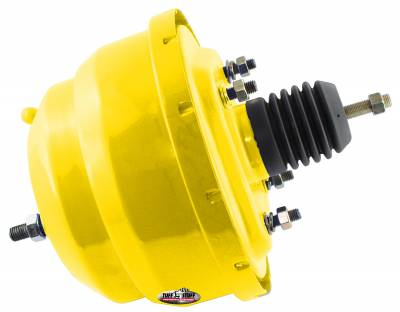 Power Brake Booster Univ. 8 in. Dual Diaphragm Incl. 3/8 in.-16 Mtg. Studs And Nuts Fits Hot Rods/Customs/Muscle Cars Yellow Powdercoat 2223NCYELLOW