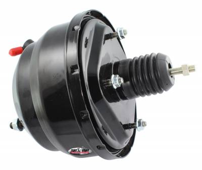 Power Brake Booster Univ. 8 in. Dual Diaphragm Incl. 3/8 in.-16 Mtg. Studs And Nuts Fits Hot Rods/Customs/Muscle Cars Black Powdercoat 2223NC
