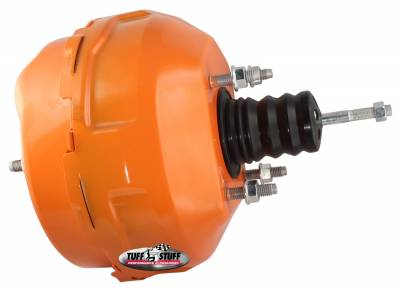 Power Brake Booster Univ. 9 in. Dual Diaphragm Rod Length 4.12 in. Incl. 3/8 in.-16 Mtg. Studs And Nuts Fits Hot Rods/Customs/Muscle Cars Orange Powdercoat 2224NCORANGE
