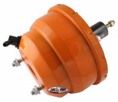 Power Brake Booster Univ. 8 in. Dual Diaphragm Incl. 3/8 in.-16 Mtg. Studs And Nuts Fits Hot Rods/Customs/Muscle Cars Orange Powdercoat 2223NCORANGE
