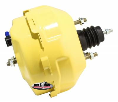 Power Brake Booster Univ. 9 in. Dual Diaphragm Rod Length 4.12 in. Incl. 3/8 in.-16 Mtg. Studs And Nuts Fits Hot Rods/Customs/Muscle Cars Yellow Powdercoat 2224NCYELLOW