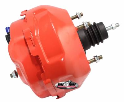 Power Brake Booster Univ. 9 in. Dual Diaphragm Rod Length 4.12 in. Incl. 3/8 in.-16 Mtg. Studs And Nuts Fits Hot Rods/Customs/Muscle Cars Red Powdercoat 2224NCRED