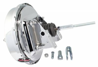 Power Brake Booster Univ. 9 in. Single Diaphragm Incl. 3/8 in.-16 Mtg. Studs And Nuts Fits Hot Rods/Customs/Muscle Cars Chrome 2226NA