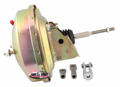 Power Brake Booster Univ. 9 in. Single Diaphragm Incl. 3/8 in.-16 Mtg. Studs And Nuts Fits Hot Rods/Customs/Muscle Cars Gold Zinc 2226NB