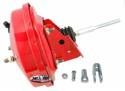 Power Brake Booster Univ. 9 in. Single Diaphragm Incl. 3/8 in.-16 Mtg. Studs And Nuts Fits Hot Rods/Customs/Muscle Cars Red Powdercoat 2226NBRED