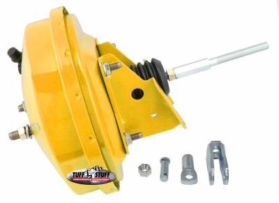 Power Brake Booster Univ. 9 in. Single Diaphragm Incl. 3/8 in.-16 Mtg. Studs And Nuts Fits Hot Rods/Customs/Muscle Cars Yellow Powdercoat 2226NBYELLOW