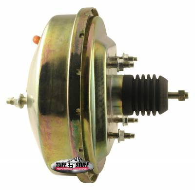 Power Brake Booster Univ. 9 in. Slim Line Diaphragm Incl. 3/8 in.-16 Mtg. Studs And Nuts Fits Hot Rods/Customs/Muscle Cars Gold Zinc 2231NB