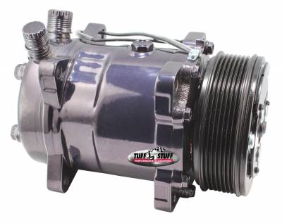 Sanden Style SD508 A/C Compressor R134A Series 6 Groove Pulley Black Chrome 4515NA6G7