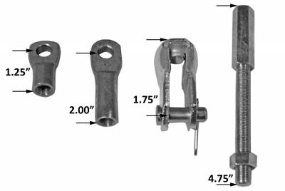 Brake Booster Extension Rod And Clevis Kit Univ. 4.75 in. Rod Length 3/8 in.-24 Fine Threads For Brake Booster PN[2121/2122/2123/2221/2222/2223] Plain 4750