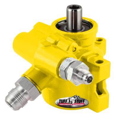 Type II Alum. Power Steering Pump AN-6 And AN-10 Fittings 8mm Through Hole Mounting Aluminum For Street Rods/Custom Vehicles w/Limited Engine Space Yellow 6175ALYELLOW