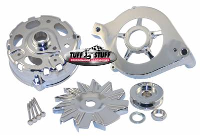 Alternator Case Kit Fits Ford 1GEN And Tuff Stuff Alternator PN[7078] Incl. Front And Rear Housings/Fan/Pulley/Nut/Lockwashers/Thru Bolts Chrome Plated 7500C