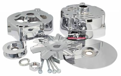 Alternator Case Kit Fits GM 10SI And Tuff Stuff Alternator PN[7127] Incl. Front And Rear Housings/Fan/Pulley/Nut/Lockwashers/Thru Bolts Chrome Plated 7500A