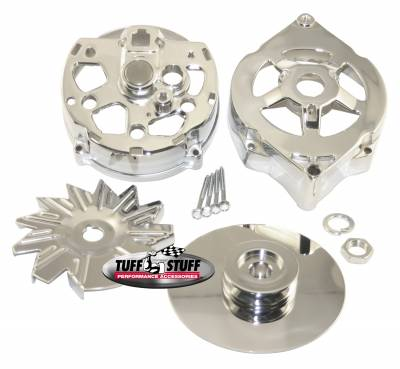 Alternator Case Kit Fits GM 10DN And Tuff Stuff Alternator PN[7102] Incl. Front And Rear Housings/Fan/Pulley/Nut/Lockwashers/Thru Bolts Chrome Plated 7500B