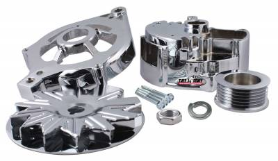 Alternator Case Kit Fits Ford 2GEN And Tuff Stuff Alternator PN[7716] Incl. Front And Rear Housings/Fan/Pulley/Nut/Lockwashers/Thru Bolts Chrome Plated 7500E