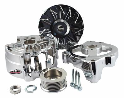 Alternator Case Kit Fits GM CS130 w/6 Groove Pulley And Tuff Stuff Alternator PN[7866] Incl. Front And Rear Housings/Fan/Pulley/Nut/Lockwashers/Thru Bolts Chrome Plated 7500G