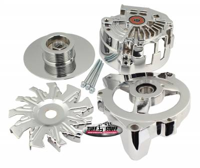 Alternator Case Kit Fits GM CS130 w/6 Groove Pulley And Tuff Stuff Alternator PN[7861] Incl. Front And Rear Housings/Fan/Pulley/Nut/Lockwashers/Thru Bolts Chrome Plated 7500F
