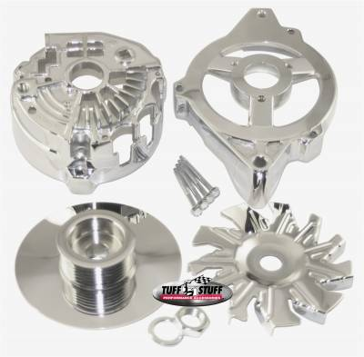 Alternator Case Kit Fits GM CS130 w/6 Groove Pulley And Tuff Stuff Alternator PN[7935] Incl. Front And Rear Housings/Fan/Pulley/Nut/Lockwashers/Thru Bolts Chrome Plated 7500H