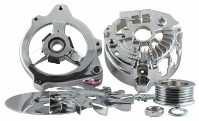Alternator Case Kit Fits GM CS130 w/6 Groove Pulley And Tuff Stuff Alternator PN[7860] Incl. Front And Rear Housings/Fan/Pulley/Nut/Lockwashers/Thru Bolts Chrome Plated 7500I