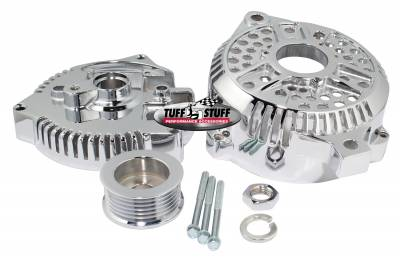Alternator Case Kit Fits Ford 3GEN And Tuff Stuff Alternator PN[7771] Incl. Front And Rear Housings/Fan/Pulley/Nut/Lockwashers/Thru Bolts Chrome Plated 7500K