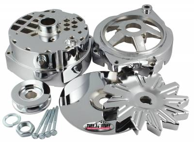 Alternator Case Kit Fits GM 12SI And Tuff Stuff Alternator PN[7294] Incl. Front And Rear Housings/Fan/Pulley/Nut/Lockwashers/Thru Bolts Chrome Plated 7500J