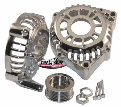 Alternator Case Kit Fits GM CS130D w/6 Groove Pulley And Tuff Stuff Alternator PN[8206] Incl. Front And Rear Housings/Fan/Pulley/Nut/Lockwashers/Thru Bolts Chrome Plated 7500L