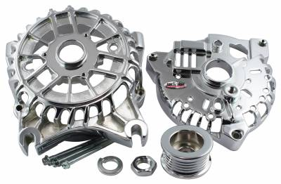 Alternator Case Kit Fits Ford 3GEN And Tuff Stuff Alternator PN[8252] Incl. Front And Rear Housings/Fan/Pulley/Nut/Lockwashers/Thru Bolts Chrome Plated 7500N
