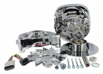 Alternator Case Kit Fits GM CS144 And Tuff Stuff Alternator PN[8219] Incl. Front And Rear Housings/Fan/Pulley/Nut/Lockwashers/Thru Bolts Chrome Plated 7500M