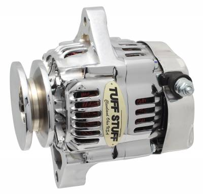 Compact Design Alternator 55 AMP Ultra Mini Nippondenso 1 Wire Single Groove Pulley For Use w/Performance Cars/Street Rods/Show Cars w/Low Amp Requirement Chrome 7512A