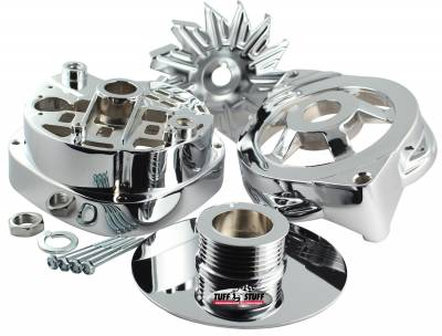 Alternator Case Kit Fits GM CS144 And Tuff Stuff Alternator PN[8173] Incl. Front And Rear Housings/Fan/Pulley/Nut/Lockwashers/Thru Bolts Chrome Plated 7500P