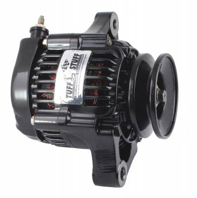 Compact Design Alternator 55 AMP Ultra Mini Nippondenso 1 Wire Single Groove Pulley For Use w/Performance Cars/Street Rods/Show Cars w/Low Amp Requirement Black 7512B