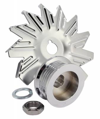 Alternator Fan And Pulley Combo 5 Groove Serpentine Pulley Incl. Fan/Lockwasher/Nut Chrome Plated 7600C