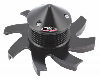 Alternator Fan And Pulley Combo Universal 6 Groove Serpentine Pulley Incl. Fan/Lock Washer/Nut Stealth Black CS 130 Fits PN[7860/7861/7866/7935] 7666DC