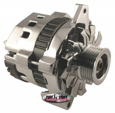 Alternator 120 AMP CS121 GM Style Mini Racer 1 Wire Or OEM Hookup 12 Volt 6 Groove Serpentine Pulley Chrome 7937A6G