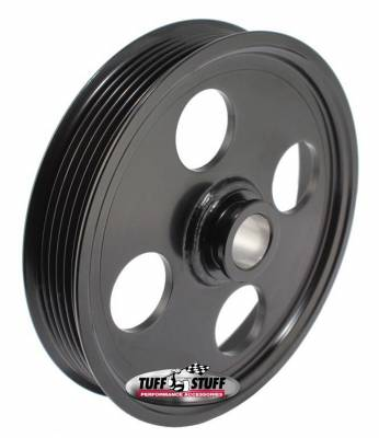 Tuff Stuff Performance - Type II Power Steering Pump Pulley For .748 in. Shaft 6-Groove Fits All Tuff Stuff Type II Pumps That Require A 19mm Press-On Pulley Black Powder Coated 8489B - Image 2